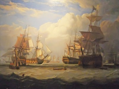 Lord Anson's arrival at Spithead with Prizes After May 3 1747 Cape Finisterre Action by John Christian Schetky 1778-1875 Oil on Canvas