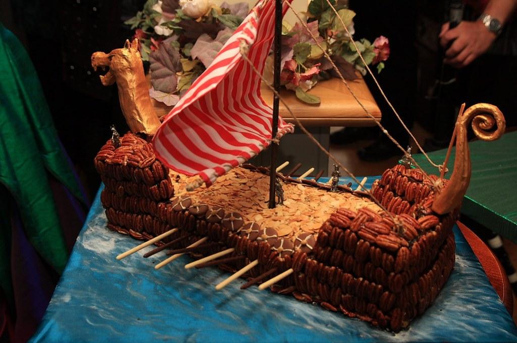 Viking long boat cake
