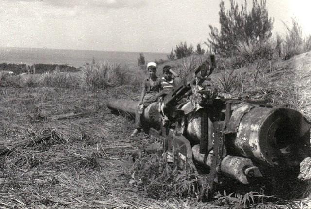 Children on World War II Remnant