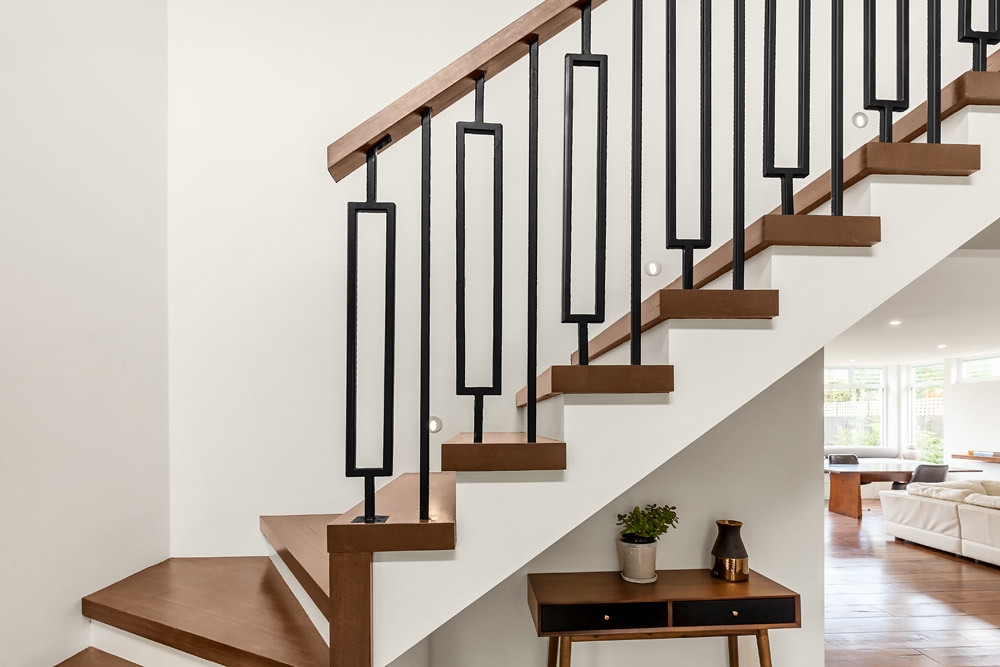 Modern Stair With Custom Rectangle Feature Steel Balusters   Modern Metal Stair Spindles