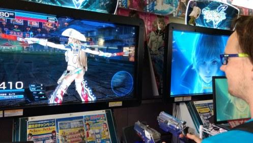 Mischa enjoying an arcade