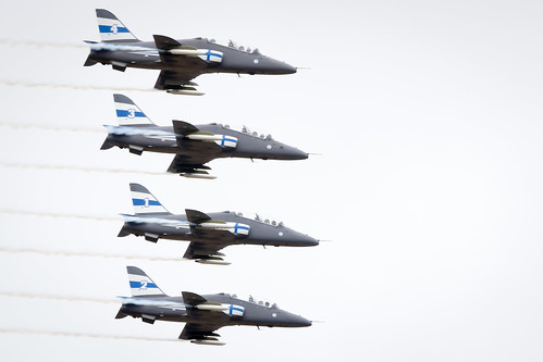 The Midnight Hawks Display Team of the Finish Air Force perform at Fairford International Air Tattoo 2017