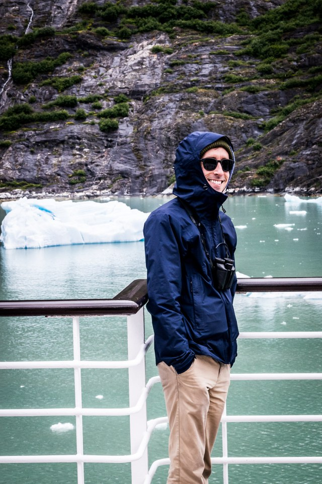 all bundled up to view the glacier