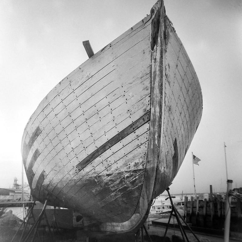 wodden ship, hull, in repair, working waterfront, Rockland, Maine, Welta Weltur, Arista.Edu 200, Moersch Eco Film Developer, 7.23.17