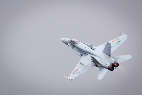Spanish Air Force Mcdonnell Douglas F/A-18 Hornet performing its Aerobatic Display at Fairford International Air Tattoo RIAT 2017