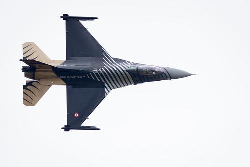 Turkish Air Force Lockheed Martin General Dynamics F-16 Fighting Falcon completes its Aerobatic Display at Fairford International Air Tattoo RIAT 2017