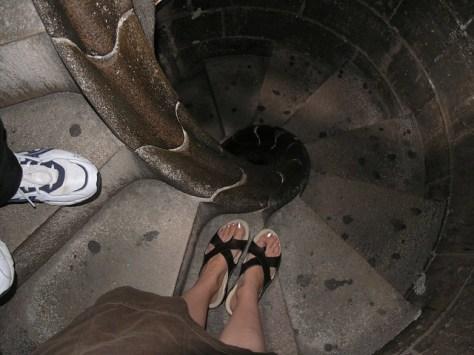 Barcelona Sagrada Familia A nd M climbing down