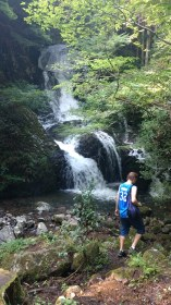 Walking to the nearby waterfall