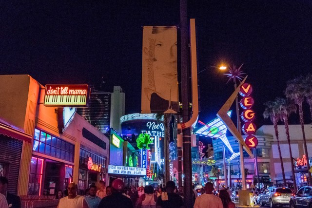 downtown Vegas on a saturday night