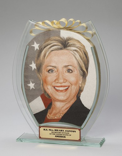 Sand Portrait of Secretary of State Hillary Clinton