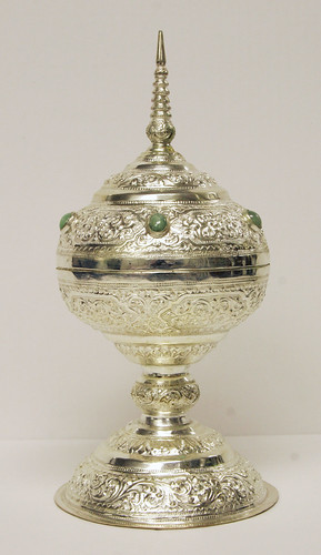 Decorated Lidded Silver Chalice