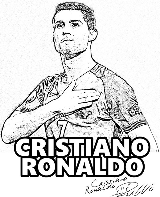 cristiano ronaldo to color  coloring page real madrid