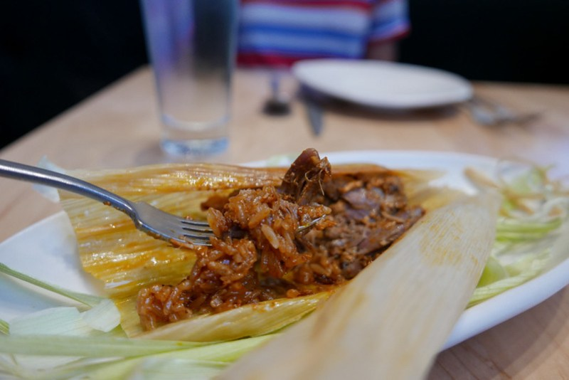 Sticky Rice Tamal with Red Chili Duck ($15)