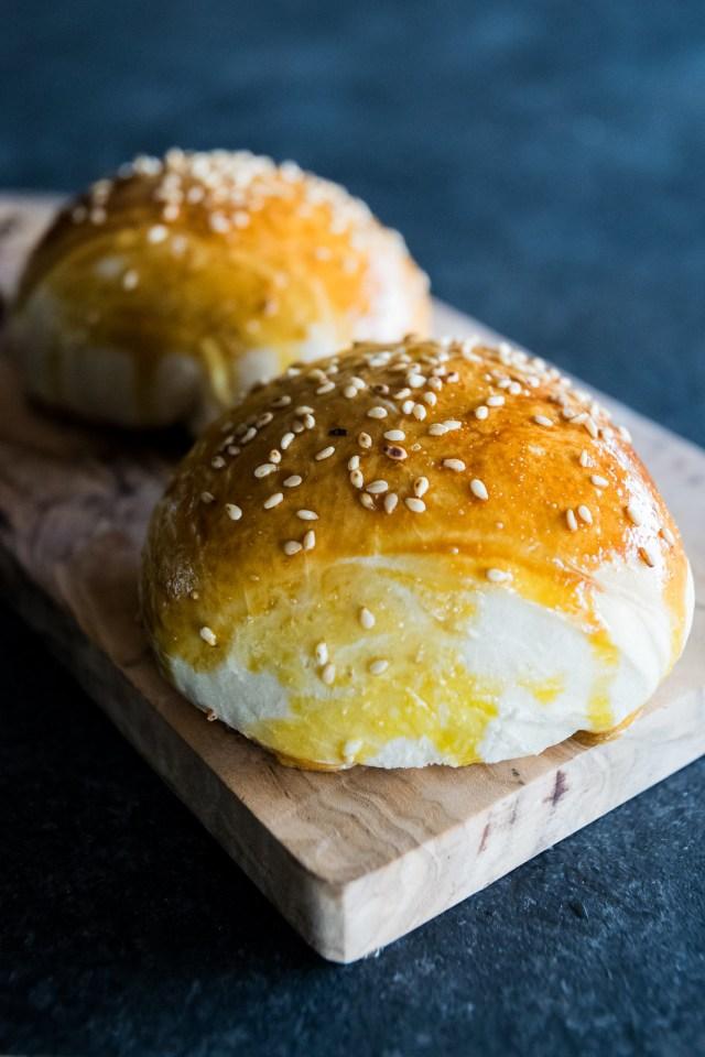 glossy homemade buns