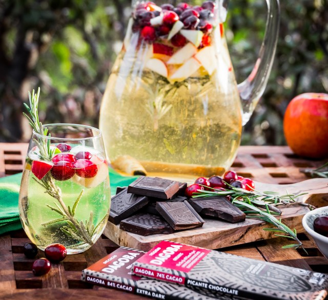 winter sangria paired with extra dark chocolate