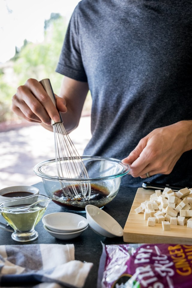 whisking the simple marinade
