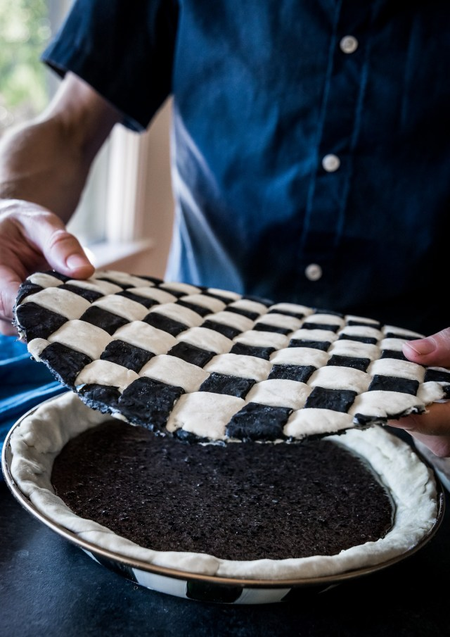 freezing the lattice makes it easy to place on the pie