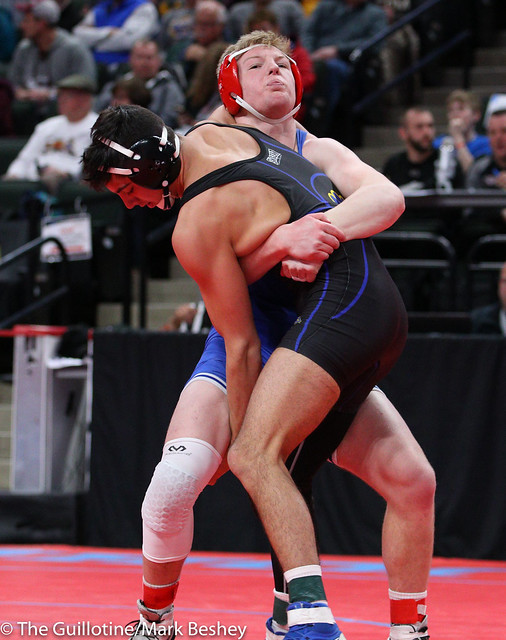 Quarterfinal - Josh Bernier (Thief River Falls) 46-5 won by decision over Jacob Hageman (Simley) 31-13 (Dec 9-6) - 180302amk0020