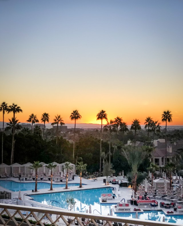 sunrise over the pool at the Phoenician