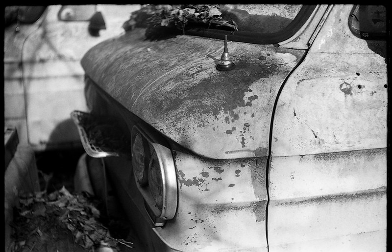 old rusted van, Billy's Corvair junkyard, forest, Black Mountain, NC, FED 4, Industar 26, Ilford FP4+, Moersch Eco Film Developer, November 2017