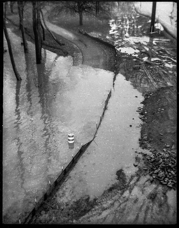 looking down, flood waters, reflectons, urban park, French Broad River, Ashevile, North Carolina, Ferrania Tanit, Rera Pan 400, Ilford Ilfosol 3 developer, 12.28.18