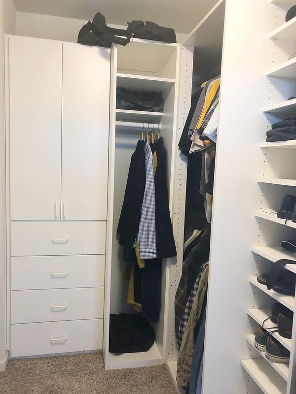 Joshua's corner of the closet