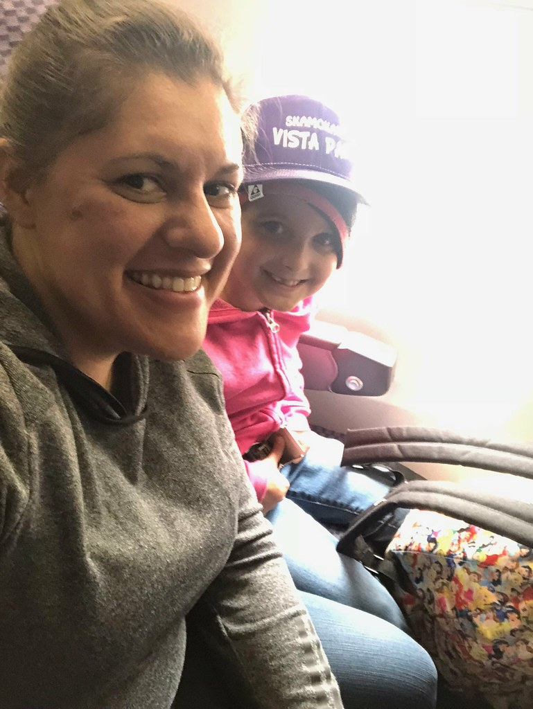 Renee and I on the plane from SFO to DEN