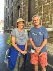 Uta, a pilgrim from Stuttgart, Germany, with the author in Leon
