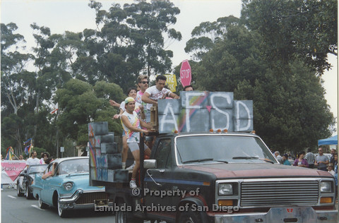 P001.043m.r Pride 1991: AIDS Foundation San Diego Parade Float