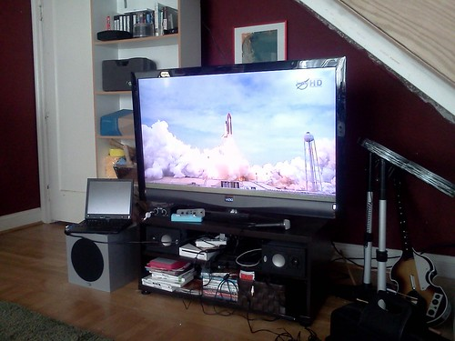 Shuttle launch on TV