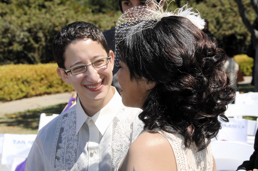 Juno and Noah greet each other at their wedding!