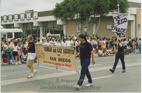 San Diego Lambda Pride Parade 1990: Contingent - 'Lesbian and Gay Archives of San Diego'.