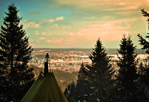 Sunset over Oslo from the ski trails
