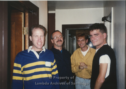 P001.174m.r.t Retreat 1991: 4 men in a hallway