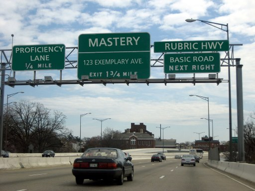 interstate highway with rubrics road signs