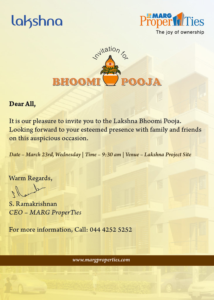 Bhoomi Pooja Invite By Marg Properties