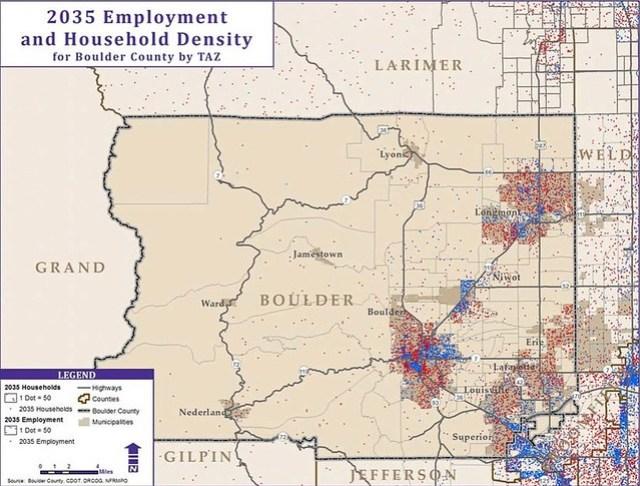 Boulder Population and Job Density 2035
