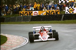 Stefan Johansson - Spirit 201 rounds Druids at the 1983 Race of Champions, Brands Hatch