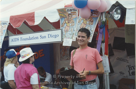 "P001.035m.r Pride 1991:  Man by ""AIDS Foundation San Diego"" booth"
