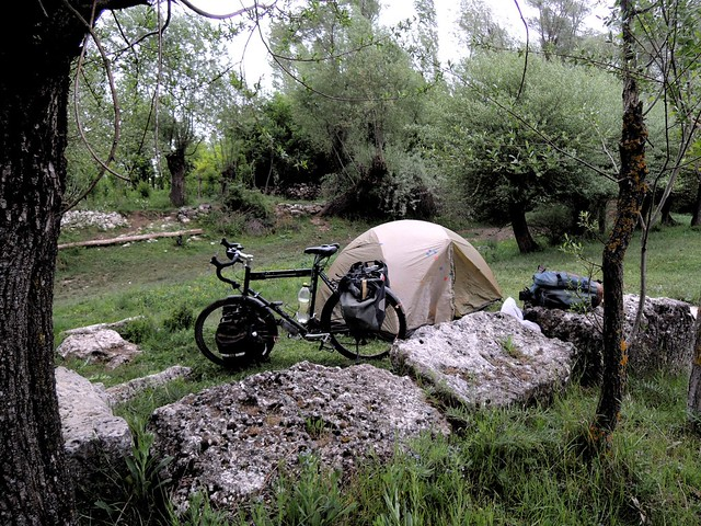 Camp next to old Roman stones, cut for the canal by bryandkeith on flickr