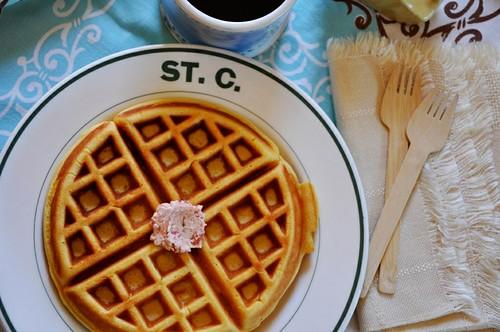 Sweet Corn Waffles with Strawberry-Jalapeño Butter