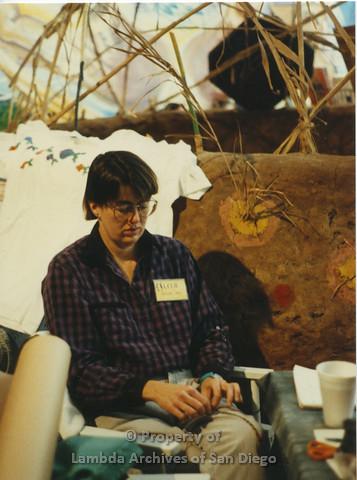 Lesbian Community Cultural Arts (LCCA), Cultural Weekends:  Cheryl Hughes sitting.