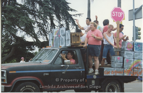 P001.054m.r Pride 1991: AIDS Foundation San Diego Parade Float