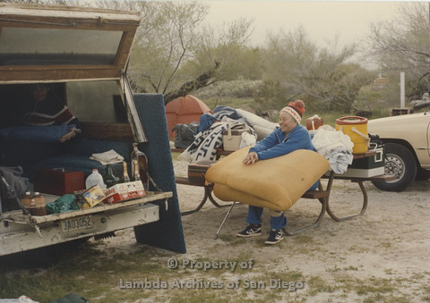 P024.052m.r.t Cathy Moore's 34th Birthday, Halley's Comet Weekend, Anza Borrego Desert 1986: Lisa St. Jacques with camping gear at tent site.
