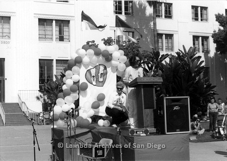 P116.031m.r.t San Diego Walks For Life 1986: Beth Howland speaking at podium with Susan Jester behind her