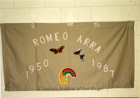 P019.035m.r.t AIDS Quilt at San Diego Golden Hall 1988: Brown quilt dedicated to Romeo Arra