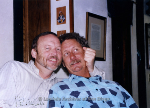 P338.061m.r.t Charles McKain (left) and Bob McWilliams (right) hugging, together for 36 years