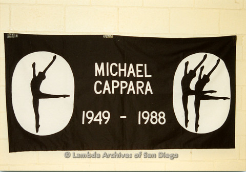 AIDS Quilt at San Diego Golden Hall 1988: Black quilt dedicated to Michael Cappara