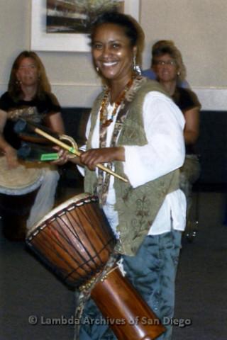 San Diego Women's Chorus (SDWC) hosts National Sister Singers Festival 2006: Women's Drum Circle rehearsing.