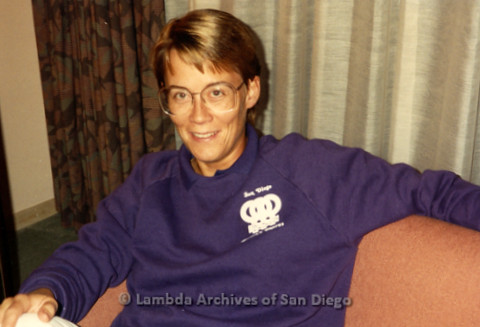 """""""The Magic Music Makes"""" San Diego Women's Chorus (SDWC) first choral festival with Sister Singers 1991: Chorus member in the hotel room in Houston."""